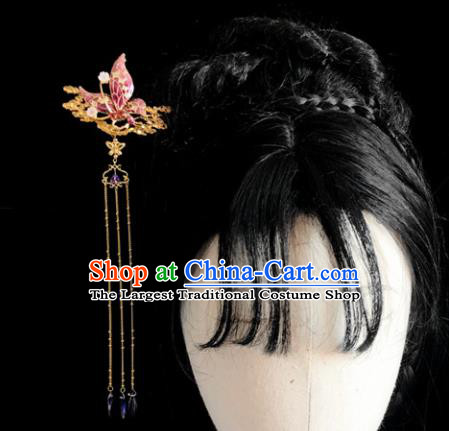 Chinese Classical Hair Accessories Traditional Ancient Hanfu Pink Butterfly Hair Clip Hairpins for Women