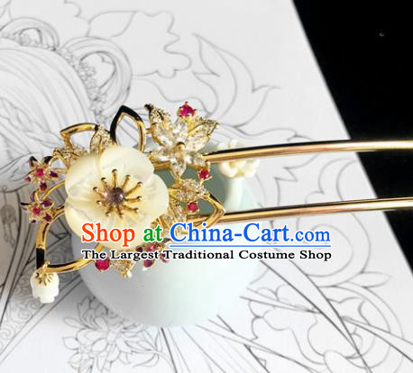 Chinese Classical Hair Accessories Traditional Ancient Hanfu Shell Flowers Hair Clip Hairpins for Women
