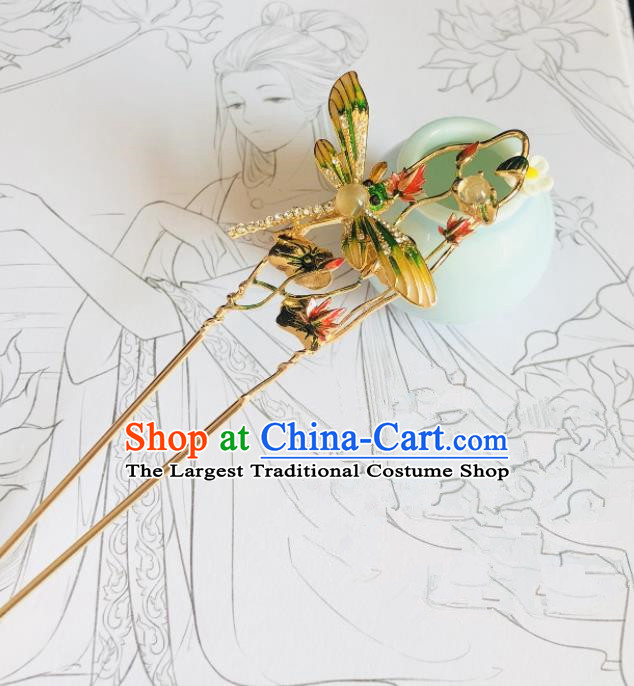Chinese Classical Hair Accessories Traditional Ancient Hanfu Cloisonne Dragonfly Hair Clip Hairpins for Women