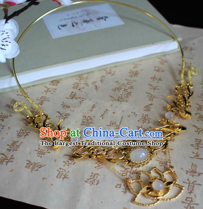 Chinese Classical Jewelry Accessories Traditional Ancient Hanfu Golden Lotus Necklace for Women