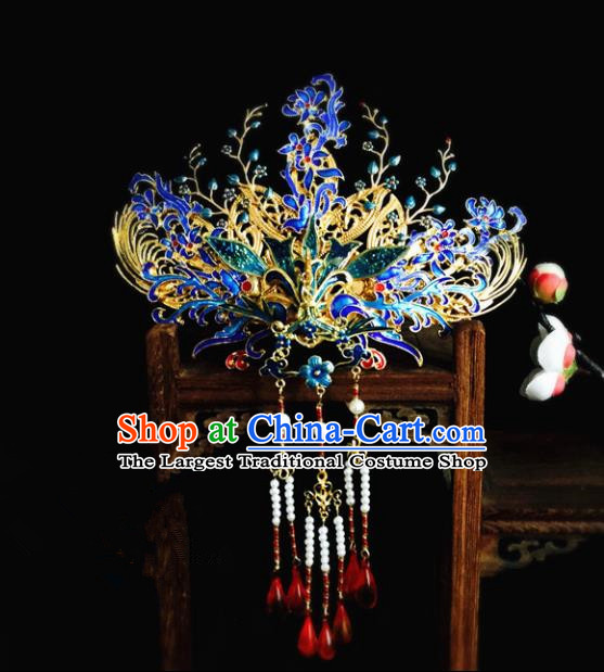 Chinese Classical Hairpins Wedding Hair Accessories Traditional Ancient Hanfu Blueing Phoenix Coronet for Women