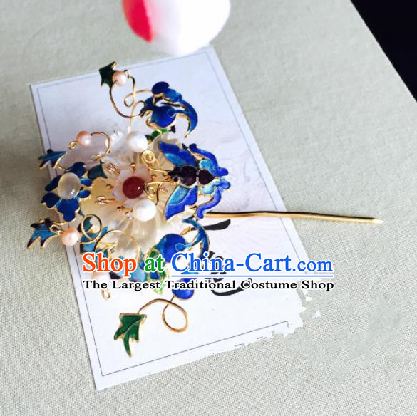 Chinese Classical Hairpins Wedding Hair Accessories Traditional Ancient Queen Blueing Hair Clip for Women