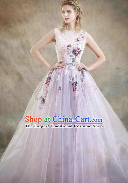 Top Performance Catwalks Costumes Purple Veil Flowers Fairy Dress Full Dress for Women