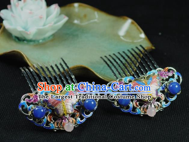Chinese Traditional Hanfu Cloisonne Hair Comb Hair Accessories Ancient Classical Butterfly Hairpins for Women