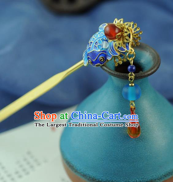 Chinese Traditional Hanfu Cloisonne Carp Hair Comb Hair Accessories Ancient Classical Hairpins for Women