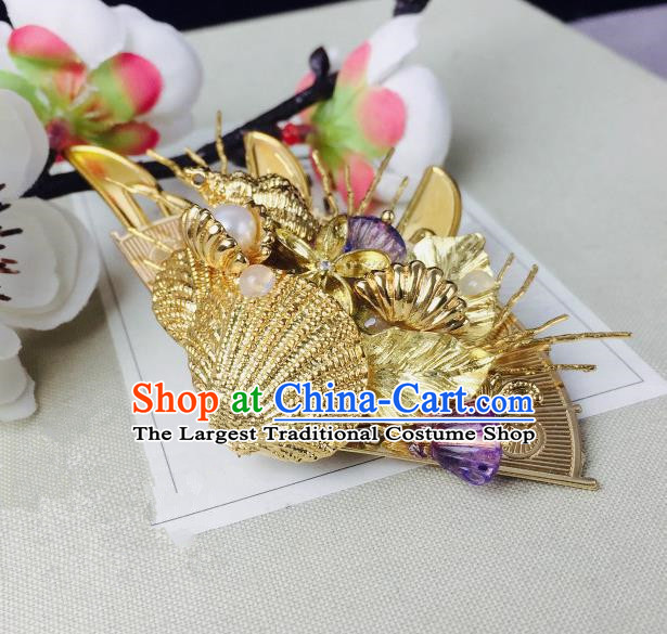 Chinese Classical Hairpins Traditional Ancient Golden Shell Hair Claw for Women