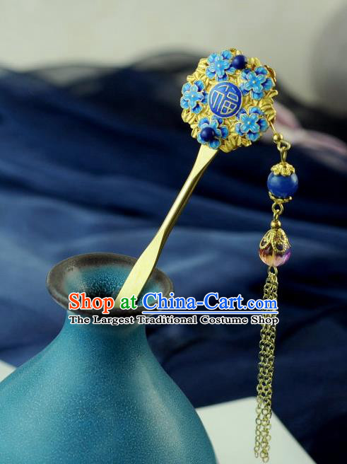Chinese Traditional Palace Cloisonne Tassel Hair Clip Hair Accessories Ancient Classical Hairpins for Women