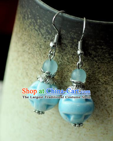 Chinese Traditional Jewelry Accessories Ancient Hanfu Blue Ceramics Earrings for Women