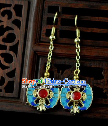 Chinese Traditional Jewelry Accessories Ancient Hanfu Blueing Pomegranate Earrings for Women