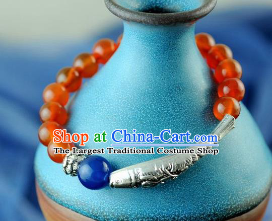 Chinese Traditional Accessories Ancient Handmade Agate Beads Bracelet for Women