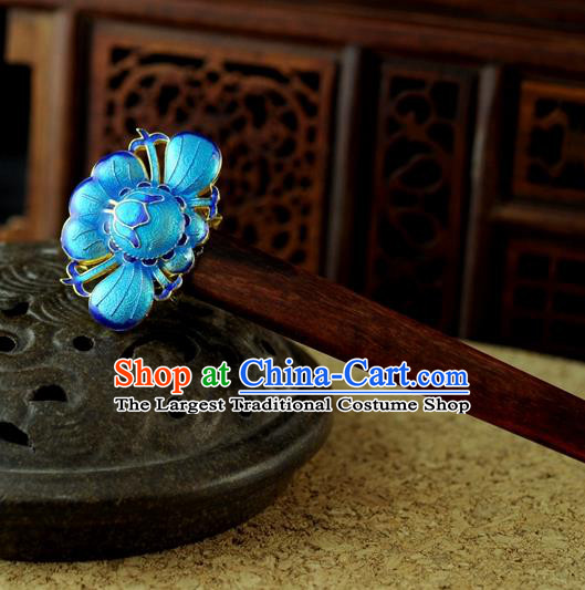 Chinese Traditional Palace Sandalwood Cloisonne Hair Clip Hair Accessories Ancient Classical Hairpins for Women