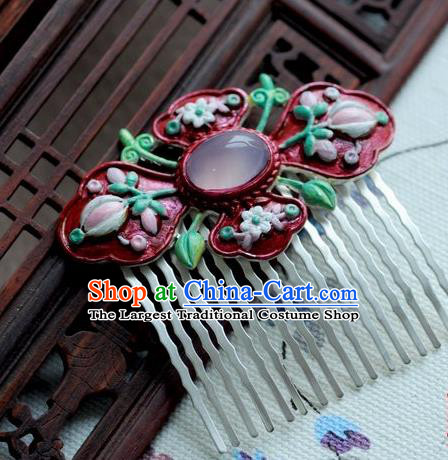 Chinese Traditional Red Hair Comb Hair Accessories Ancient Palace Classical Hairpins for Women