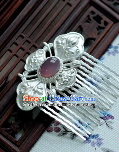 Chinese Traditional White Hair Comb Hair Accessories Ancient Palace Classical Hairpins for Women