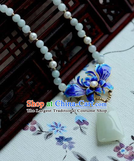 Chinese Traditional Jewelry Accessories Ancient Hanfu Blueing Orchid Jade Necklace for Women