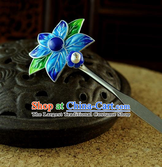 Chinese Traditional Cloisonne Hair Clip Hair Accessories Ancient Palace Classical Hairpins for Women