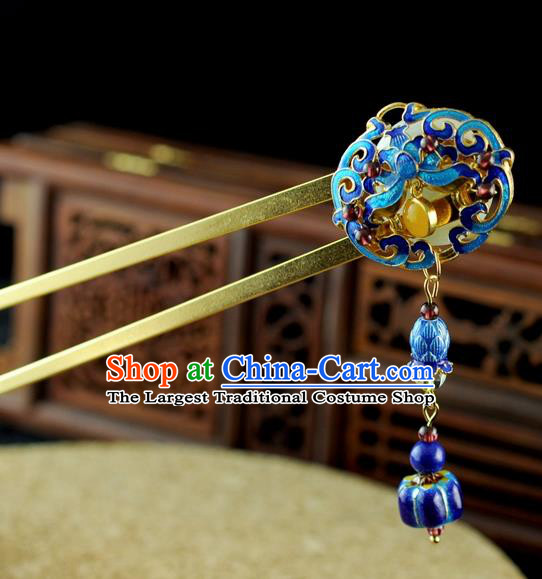 Chinese Traditional Cloisonne Tassel Hair Clip Hair Accessories Ancient Palace Classical Hairpins for Women