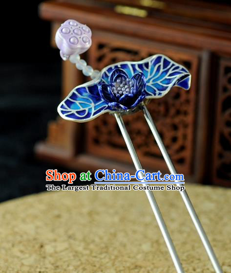Chinese Traditional Cloisonne Lotus Hair Clip Hair Accessories Ancient Palace Classical Hairpins for Women
