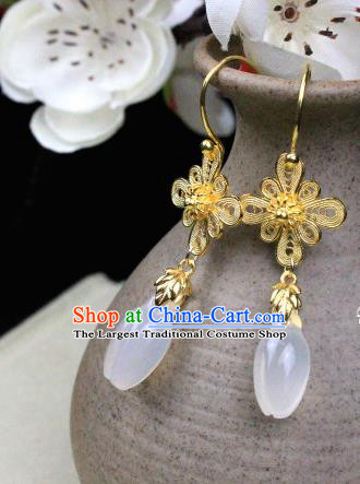 Chinese Classical Jewelry Accessories Traditional Ancient Hanfu Golden Flowers Earrings for Women