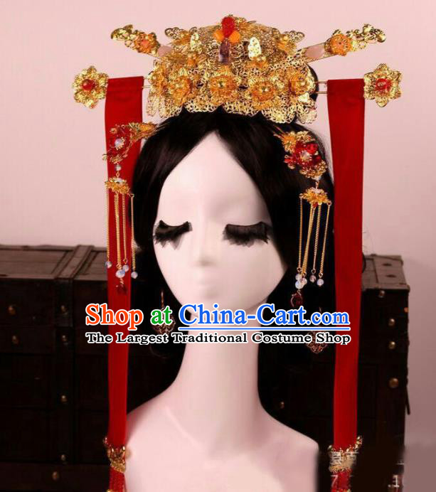 Chinese Traditional Wedding Phoenix Coronet Hair Accessories Ancient Bride Hairpins for Women