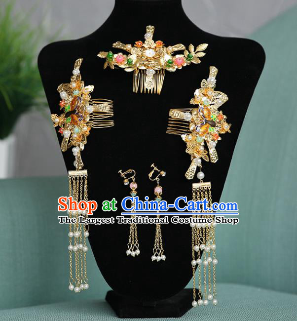 Chinese Traditional Wedding Hair Clips Hair Accessories Ancient Bride Hairpins for Women