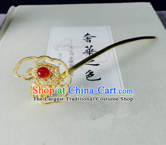 Chinese Classical Golden Hairpins Wedding Hair Accessories Traditional Ancient Hair Clip for Women