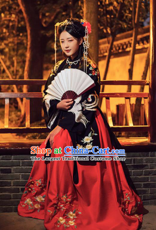 Chinese Ming Dynasty Hanfu Dress Traditional Ancient Princess Embroidered Costumes for Women
