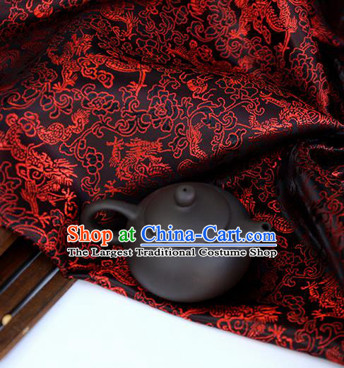Asian Chinese Traditional Fabric Material Black Brocade Classical Dragons Pattern Design Satin Drapery