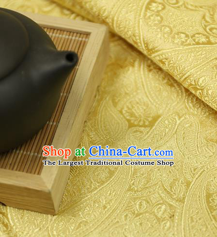 Asian Chinese Traditional Fabric Material Yellow Brocade Classical Pattern Design Satin Drapery