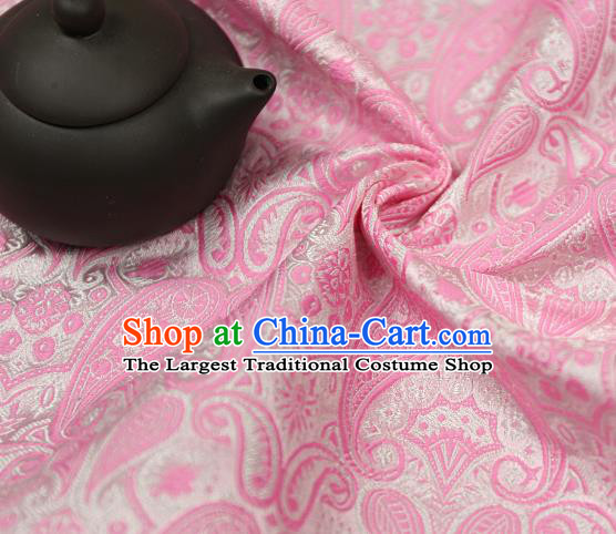 Asian Chinese Traditional Fabric Material Pink Brocade Classical Pattern Design Satin Drapery