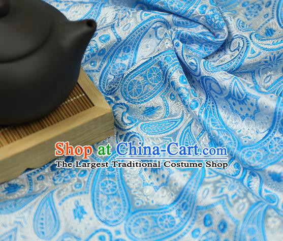 Asian Chinese Traditional Fabric Material Blue Brocade Classical Pattern Design Satin Drapery