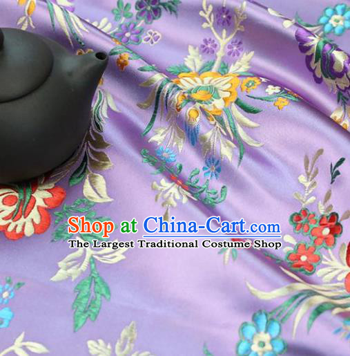 Asian Chinese Traditional Fabric Material Qipao Lilac Brocade Classical Begonia Pattern Design Satin Drapery