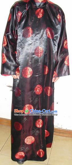 Chinese Traditional Qing Dynasty Prince Embroidered Costume Ancient Black Mandarin Robe for Men
