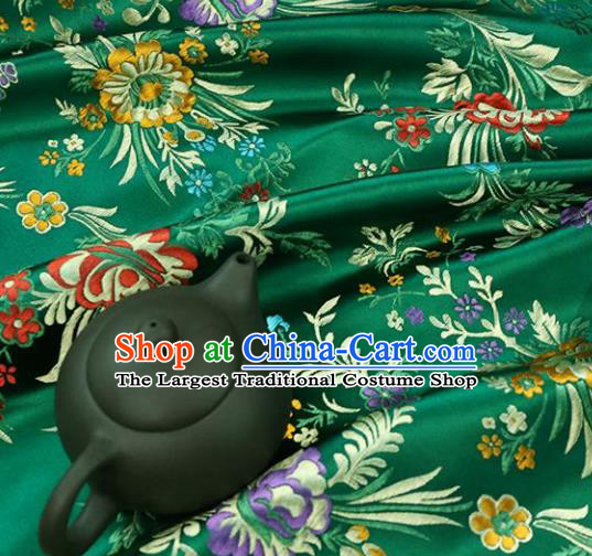Asian Chinese Traditional Fabric Material Qipao Green Brocade Classical Begonia Pattern Design Satin Drapery