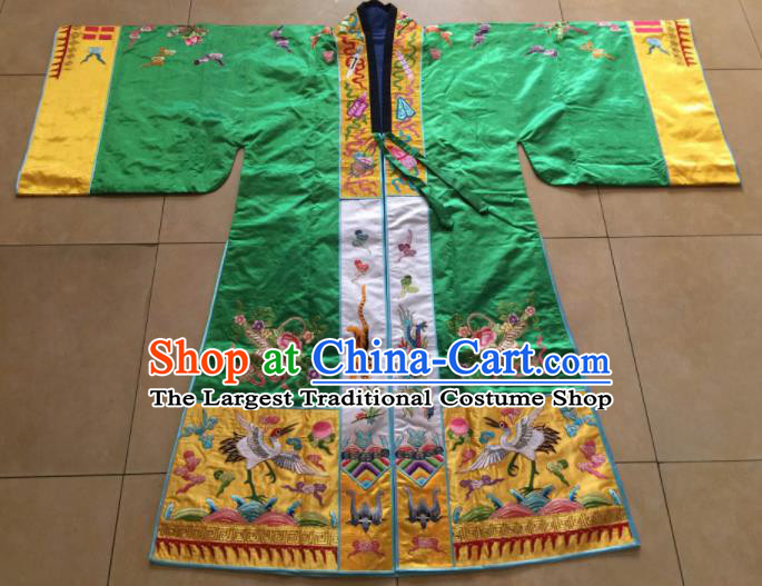 Chinese Traditional Priest Frock Costume Ancient Embroidered Green Robe for Men