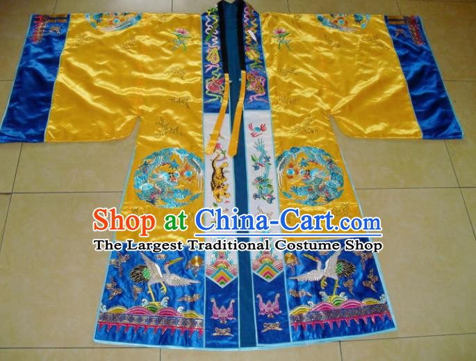 Chinese Traditional Priest Frock Costume Ancient Embroidered Yellow Robe for Men