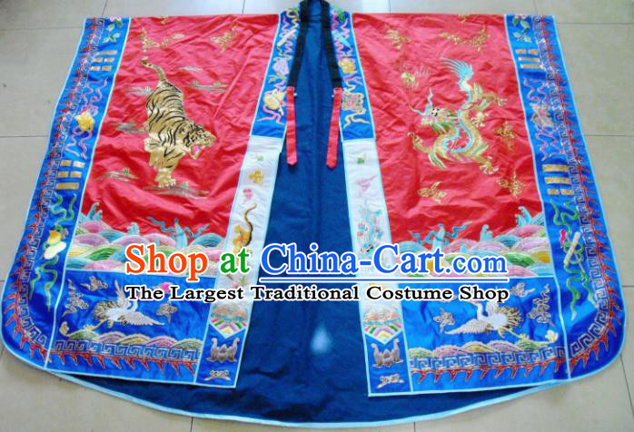 Chinese Traditional Priest Frock Red Cassocks Costume Ancient Embroidered Red Robe for Men