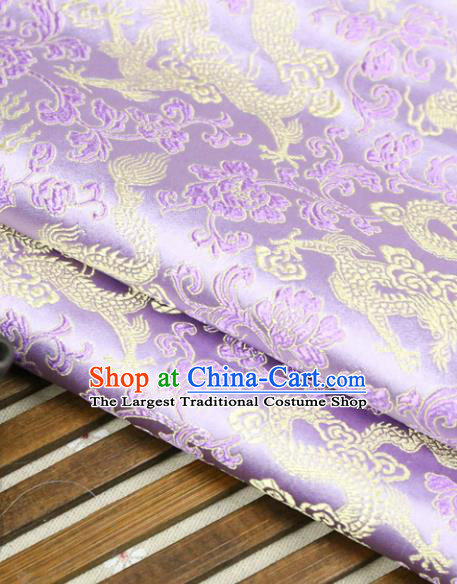 Lilac Brocade Chinese Traditional Silk Fabric Material Classical Dragons Pattern Design Satin Drapery