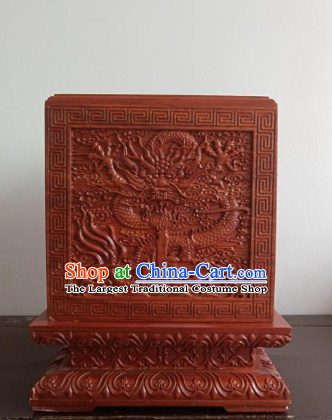 Chinese Ancient Films Props Wood Imperial Jade Seal Box