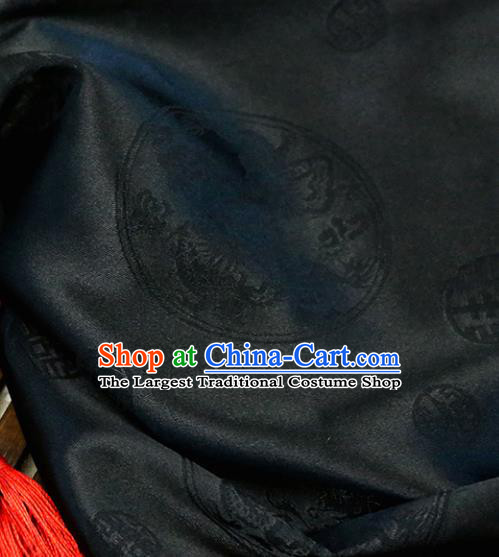 Black Brocade Chinese Traditional Silk Fabric Material Classical Dragons Pattern Design Satin Drapery