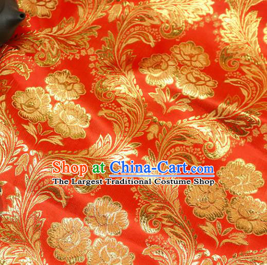 Chinese Traditional Red Brocade Tang Suit Silk Fabric Material Classical Peony Pattern Design Satin Drapery