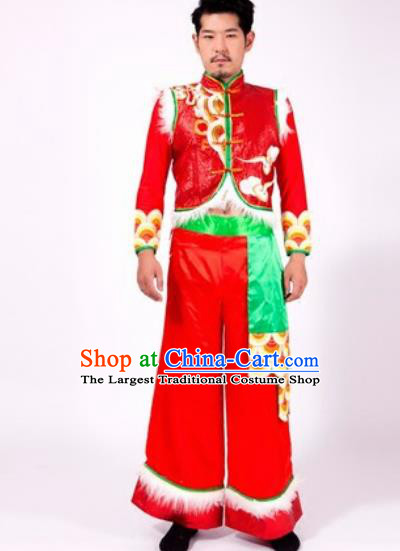 Chinese Traditional Folk Dance Yangko Red Costumes Fan Dance Clothing for Men