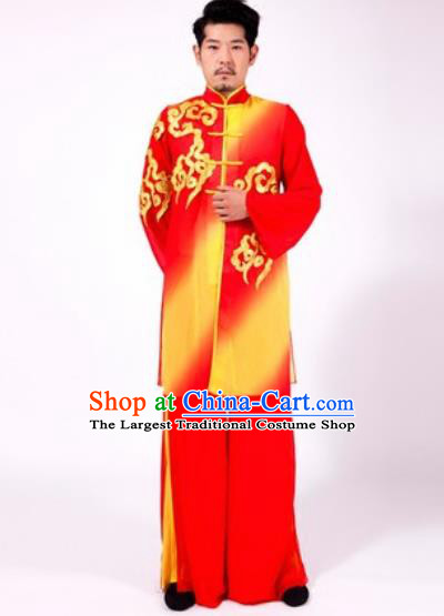 Chinese Traditional Folk Dance Yangko Red Costumes Tai Chi Clothing for Men