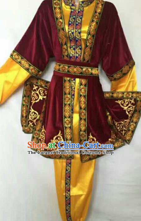Chinese Traditional Folk Dance Red Costumes Uigurian Minority Dance Clothing for Men