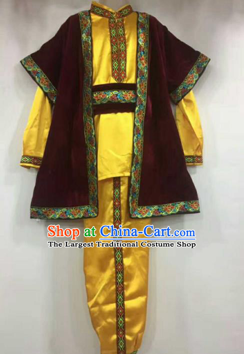 Chinese Traditional Folk Dance Yellow Costumes Uigurian Minority Dance Clothing for Men