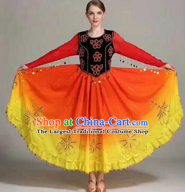 Chinese Traditional Uigurian Ethnic Costumes Uyghur Minority Folk Dance Orange Dress for Women
