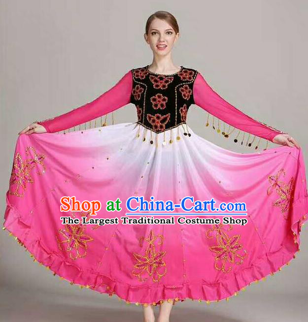 Chinese Traditional Uigurian Ethnic Costumes Uyghur Minority Folk Dance Rosy Dress for Women