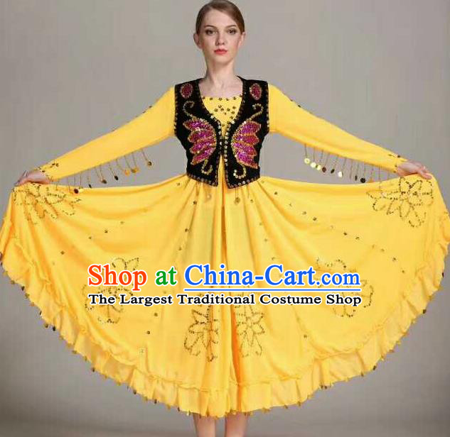 Chinese Traditional Uigurian Ethnic Costumes Uyghur Minority Folk Dance Yellow Dress for Women