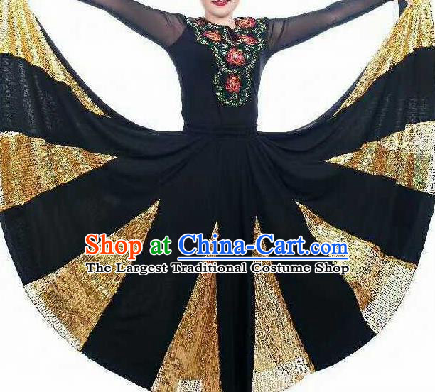 Chinese Traditional Xinjiang Uigurian Ethnic Costumes Uyghur Minority Folk Dance Black Dress for Women