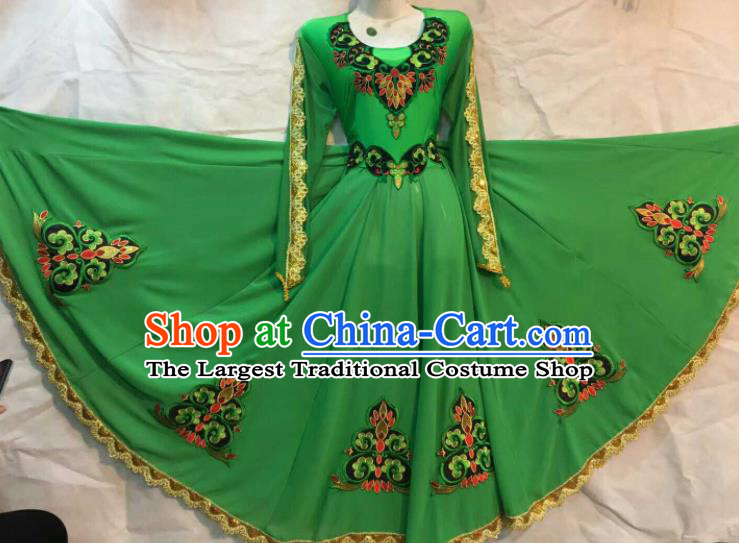 Chinese Traditional Xinjiang Uigurian Ethnic Green Costumes Uyghur Minority Folk Dance Dress for Women
