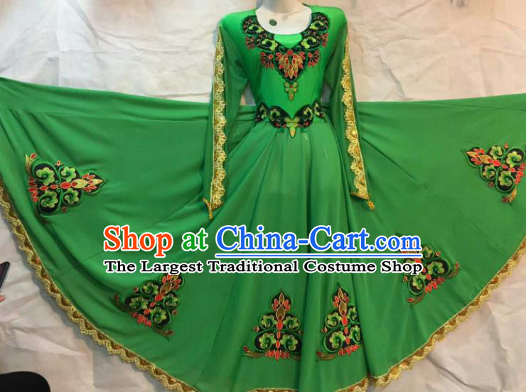 Chinese Traditional Uigurian Ethnic Costumes Xinjiang Uyghur Minority Folk Dance Green Dress for Women